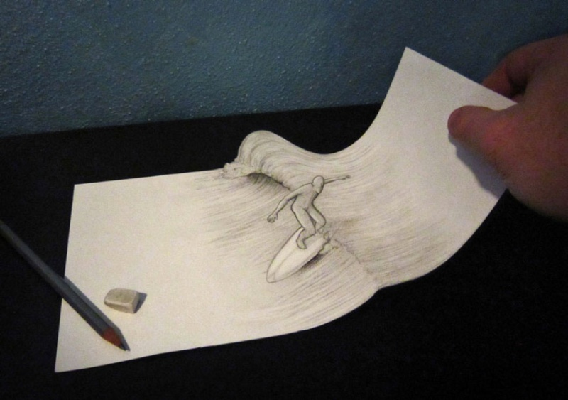 Dessin sur papier effet d'optique Surfeu10