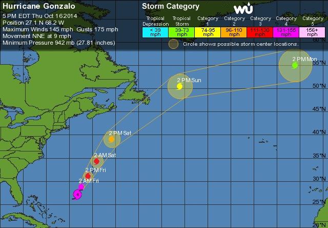 Cyclone GONZALO sur les îles du Nord des Antilles Du410