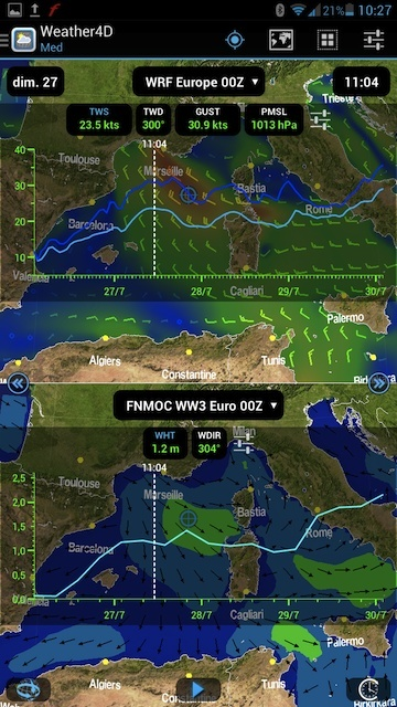 De vrais cartes marines sur Weather4D Screen11
