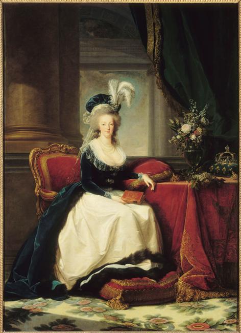 Marie-Antoinette au livre en robe bleue 79-00110