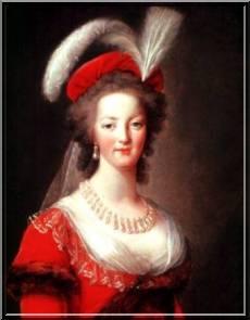 Marie-Antoinette en robe rouge sans ses enfants Doc-2710