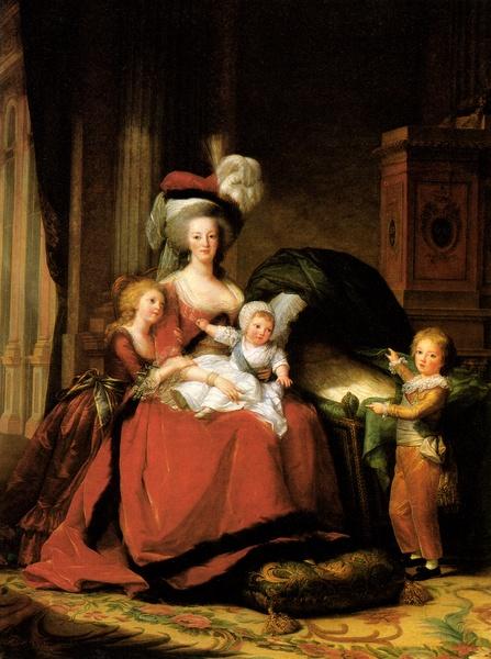Marie-Antoinette en robe rouge sans ses enfants Vigeel10