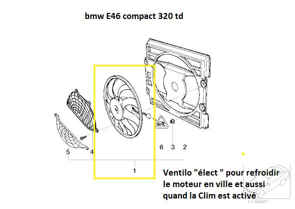 [ BMW E46 320 td compact 150cv an 2002 ] ventilateur se met en route tout seul 64_e4610
