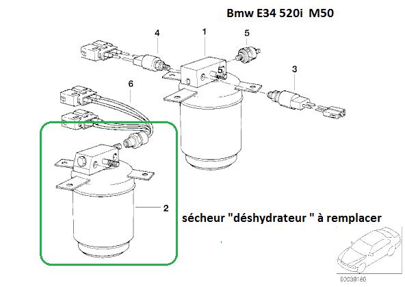 [ BMW E34 520i an 1991 ] Recharge climatisation. R12 d'origine. 64_sac10