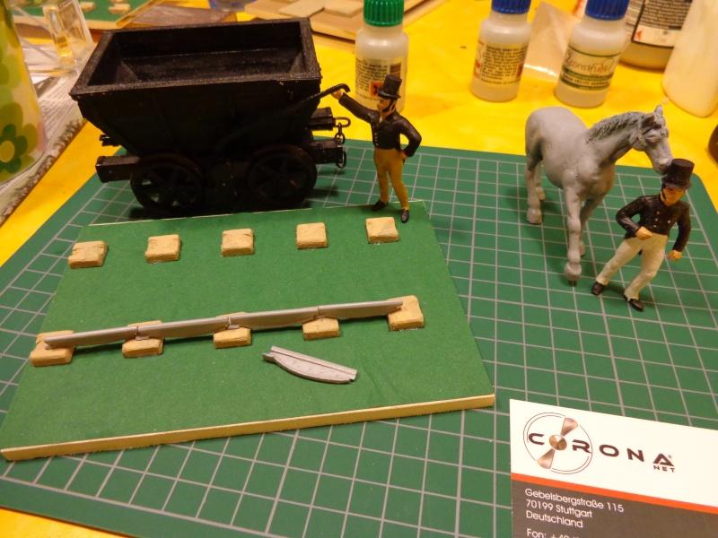 Pferdebahn mit Fischbauchgleis für Kohlenlore 1:32 Dsc01527