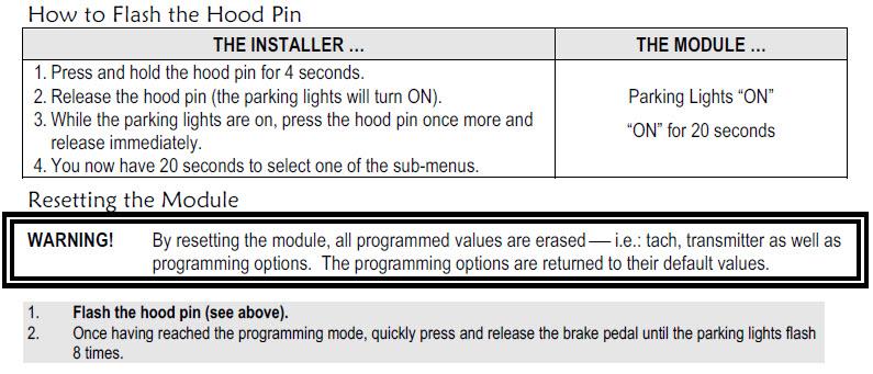 Demarreur distance Astrostart NAHRS5304 programmation et instructions Hood_p12