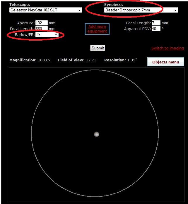 CCDCalc et field-view-calculator Captur25