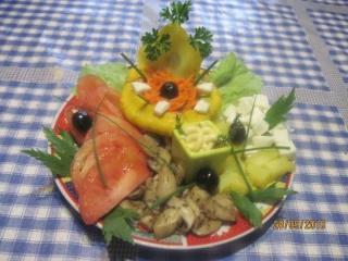flanc au saumon rose & petits légumes + photos. Assiet13