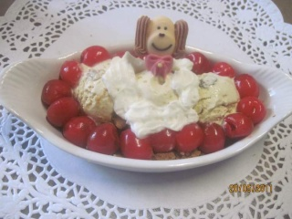 Glace vanille,cerises, biscuits spéculoos + photos. Bateau10