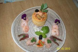 Bouchées de fruits mer aux quenelles de foie de morue . + photo. Bouche10