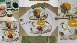Oeufs sur le plat sur tranches de pain au pesto.+ photos. Oeufs_10