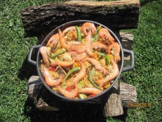 """Paella aux fruits de mer et poissons """"maison jardin"""" + photos. Paella10"""