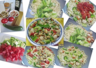 Spaghettis aux légumes. crustacés + photos. Spaghe13