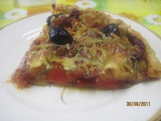 Tarte façon pizza aux poivrons et dés de lardons fumés. + photos. Tarte_11