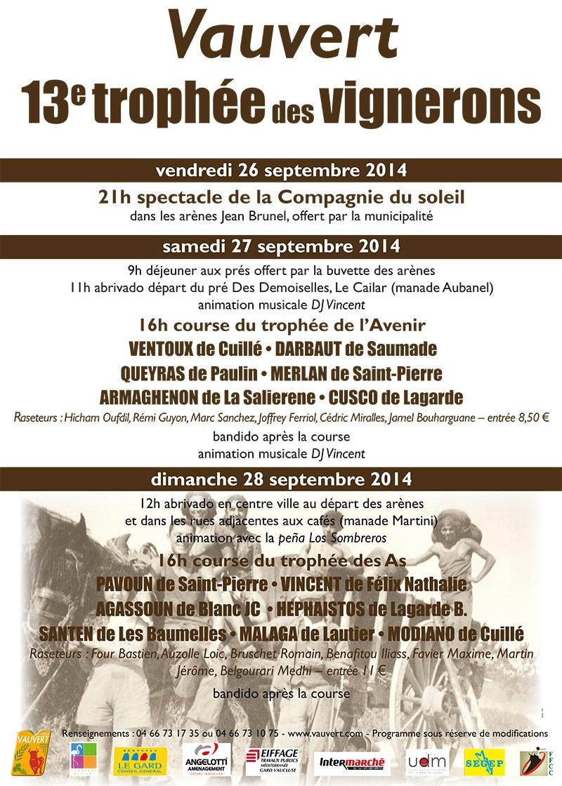 """26 / 27 / 28 Septembre Revivre Vauvert 2014 """" trophée des vignerons """" Affi-t10"""