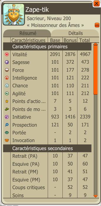 Candidature type: Zape-tik; Sacrieur lvl 200 Stats10