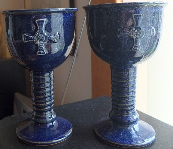 Pair of stoneware goblets, ID please. Goblet10