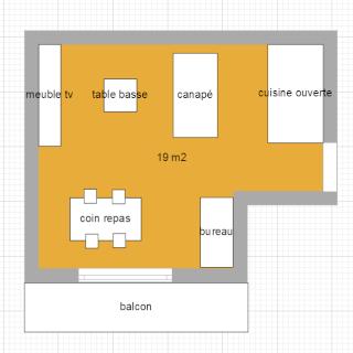 Idée aménagement d'un espace séjour, salle à manger, et coin bureau Sejour11