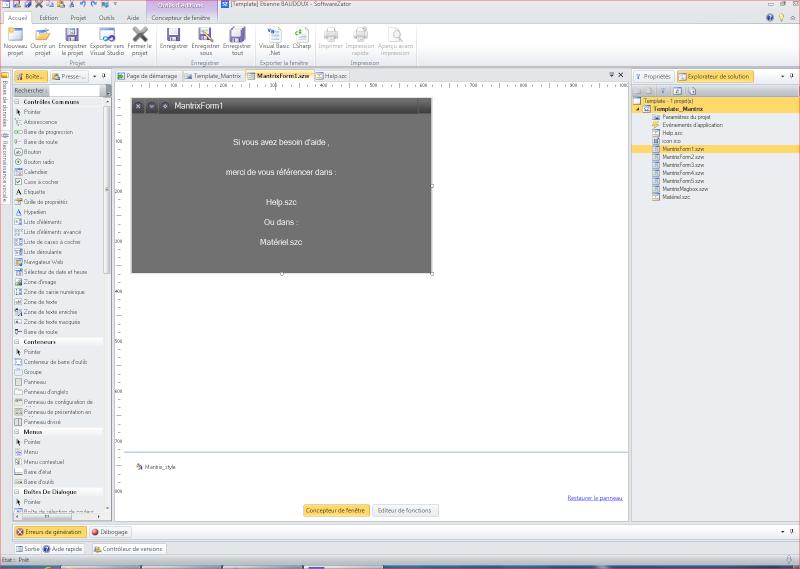 Un template pour applications Mantrix Form12