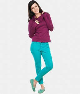 Cowl Collar Sweatshirt With Wine Colour For Women @ Rs.599 1509-210