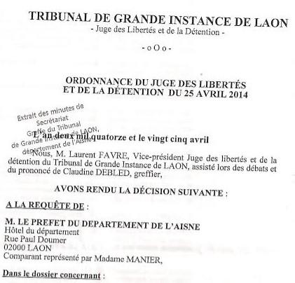 Levée judiciaire d'une ASPDRE aux Prémontrés - Aisne - Neptune