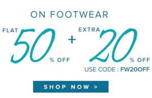 Buy Branded & Fashionable Footwear @ Flat 50% + Extra 20% OFF Captur12