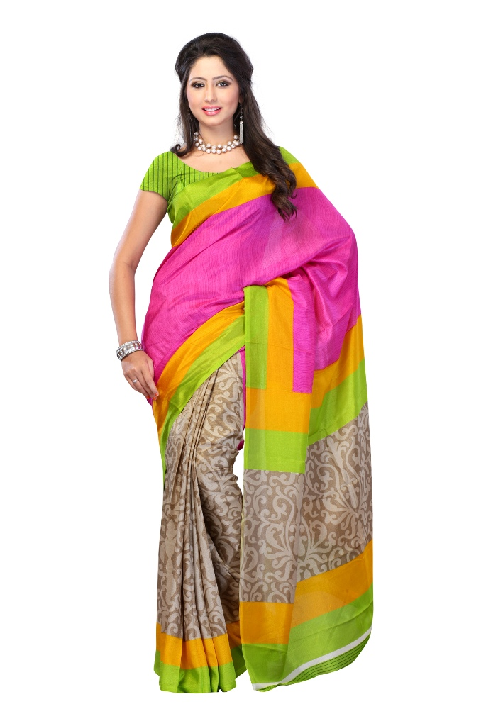 Buy Online Latest Fabdeal Art Silk Saree – Pink & Beige Colored @ Rs 499 Rkusr910