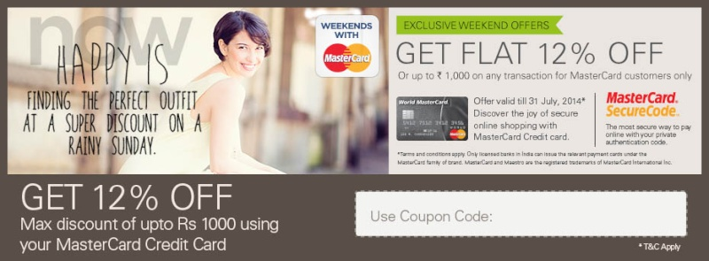 Get Flat 12% OFF Or Discount Upto Rs.1000 On World MasterCard Customers Mc_ban11
