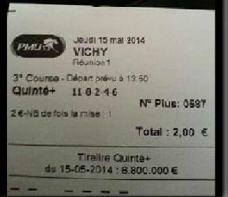 QUINTE ORDRE POUR 2 EURO = 38.070,00 Euro  Ticket10