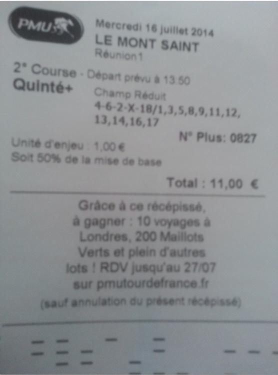 TICKET GAGNANT D'HIER Quinté + 11 Bonus 4/5 + 10 autres. Ticket10