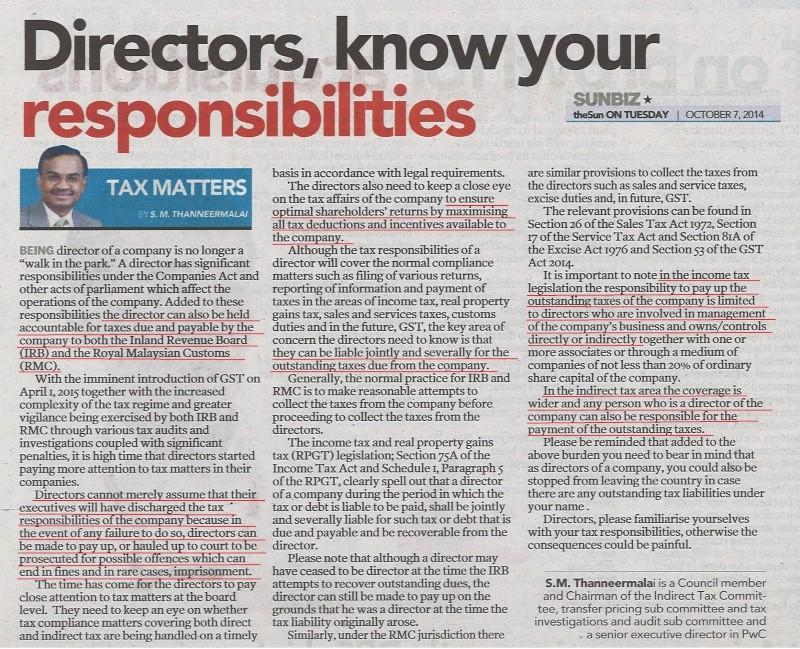 Directors - know your responsibilities Sunbiz10