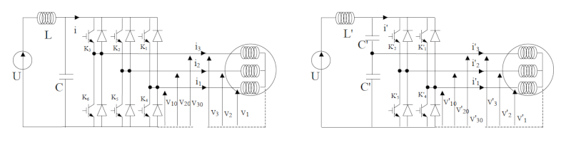Onduleur triphasé à MLI alimentant un moteur asynchrone  Sch111