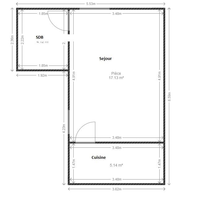 Amenager un studio de 27 m2  Plan112