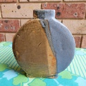 SIGNED CIRCULAR BLUE & YELLOW POTTERY VASE 1988 08510