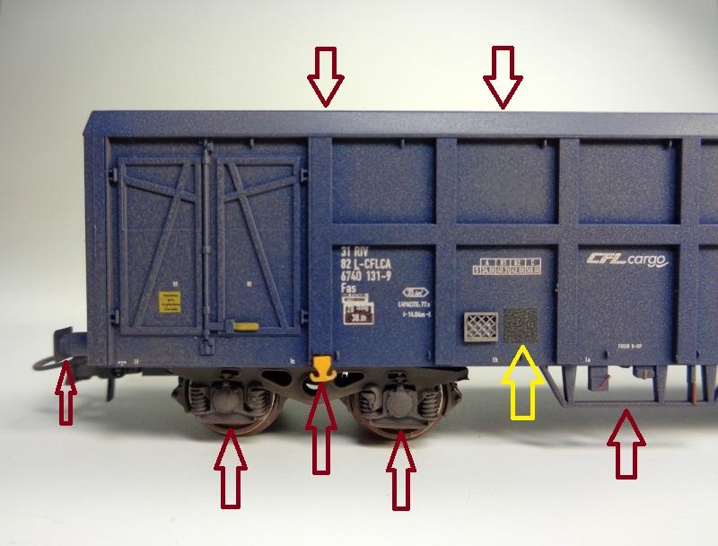 Premier projet aérographe: Wagon tombereau 4 essieux des CFL Dsc01510