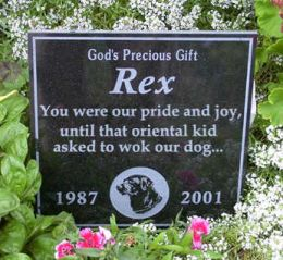 Epitaph on 'coolest headstone' Rex10