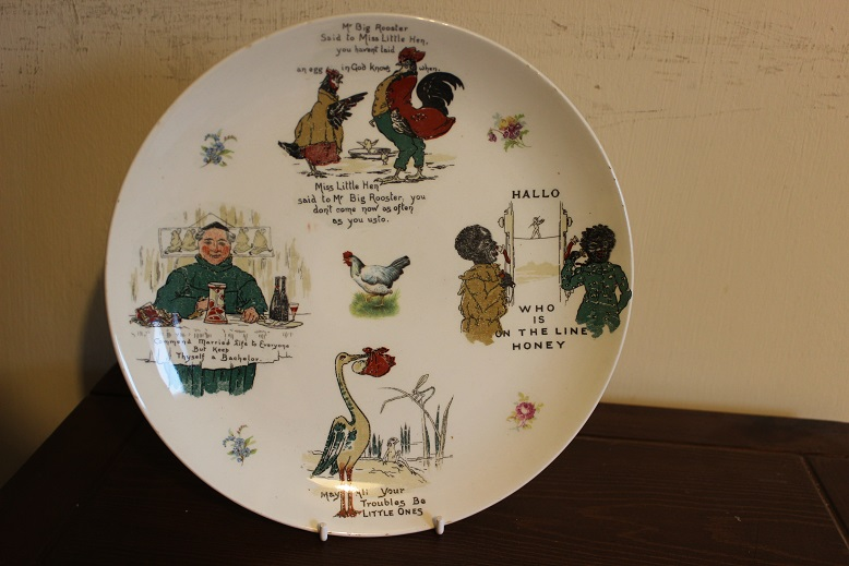 Weird Plate With Old Fashioned Transfers / Images and sayings On - No Mark Plate10