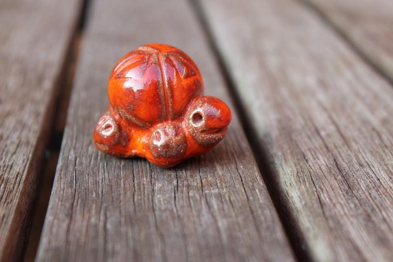 Tiny orange and red glazed tortoise - No Makers Mark Tortoi10