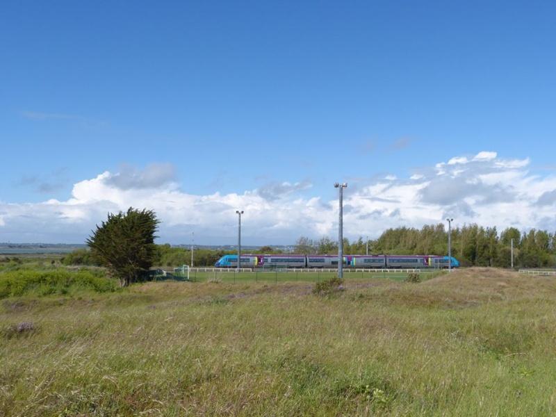 Une Z21500 Pays de La Loire assurant la Mission TER Nantes-Le Croisic passe près de la Gare de Batz sur Mer en Mai 2014. 10003810