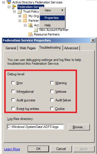 debug settings for troubleshooting Adfs10