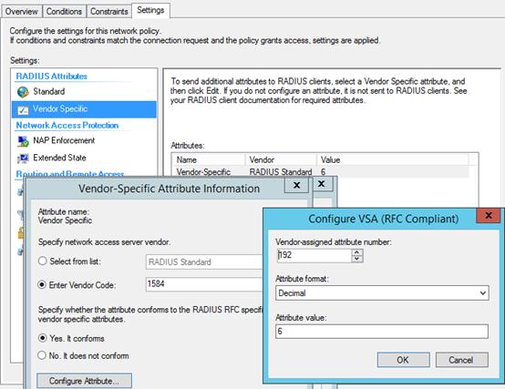 NPS radius attributes coniguration of microsoft attriubte vendor Nps10