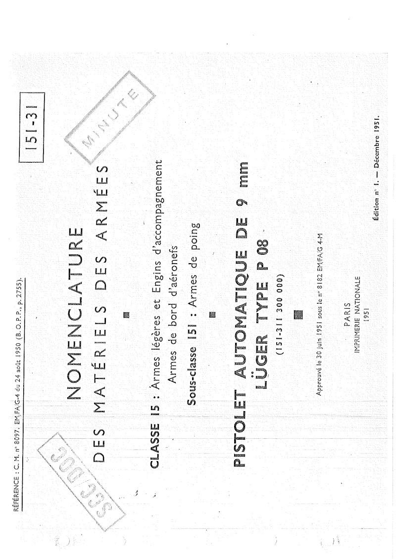 Nomenclare du luger P08 dans les armées française 1951 20140910