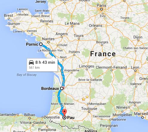 Pornic (44) vers Pau (64) -> 561 Km Voyage11