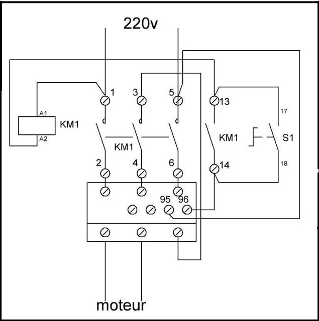 Branchement boitier télémécanique LR1-D09 Telem111