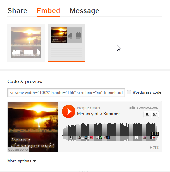 How to embed Soundcloud-Links and size restrictions Share011
