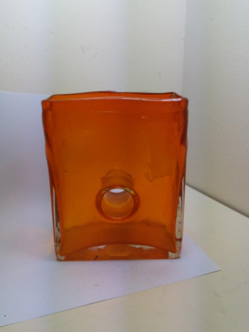 Flame Orange Rectangular Donut Hole Vase Img_2020