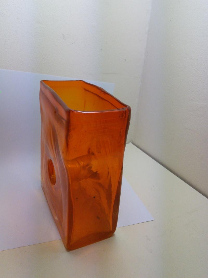 Flame Orange Rectangular Donut Hole Vase Img_2021
