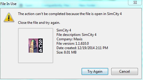 """The file (...) is still open in SimCity4"" - workaround/fix. Ubpolh10"