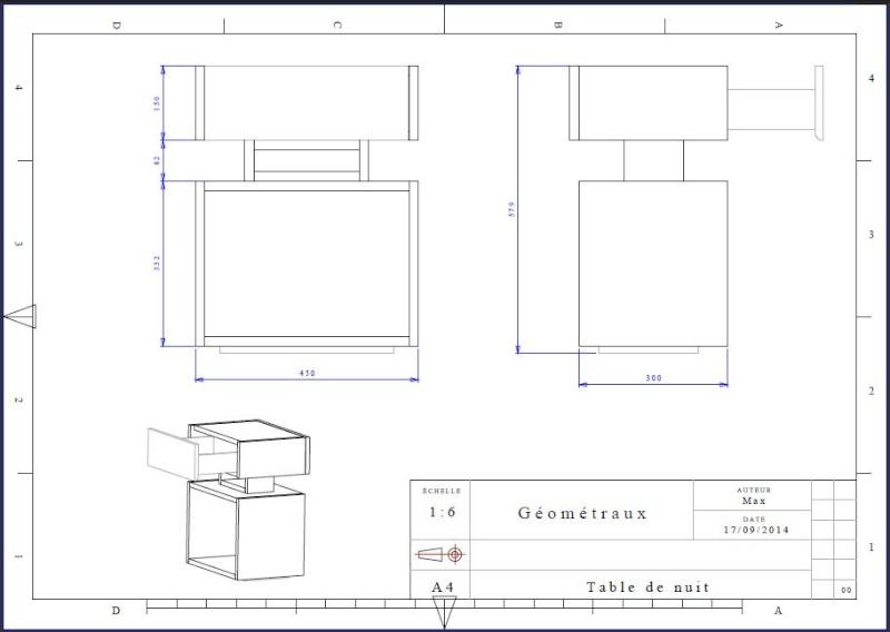 Une table de nuit hexaèdres Draft10