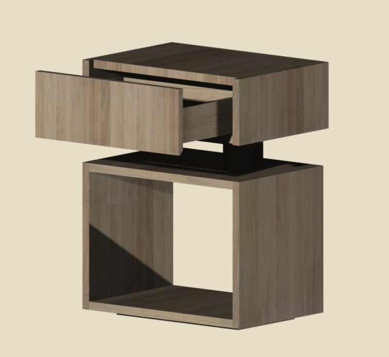 Une table de nuit hexaèdres Vue110